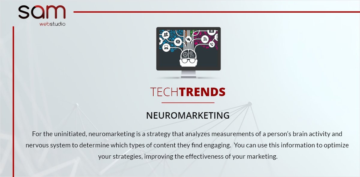 For the uninitiated, #neuromarketing is a strategy that analyzes measurements of a person's brain activity and nervous system to determine which types of #content they find engaging..... Follow @samwebstudio  . #samwebstudio #webfacts #webtips #techupdate #digitalmarketingpic.twitter.com/SXjWAtXk5W