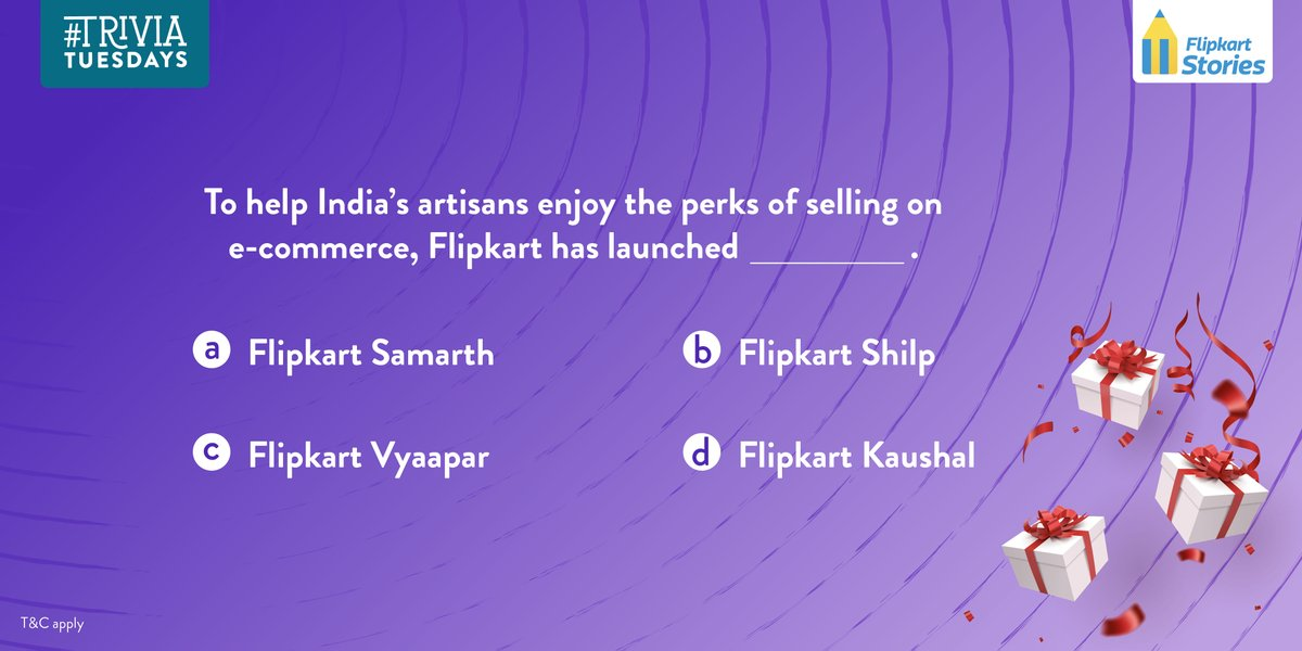 #TriviaTuesdays Q3 of 4: Here's an initiative we're especially proud of! To help India's #artisans enjoy the perks of selling on #Ecommerce, @Flipkart has launched _________.pic.twitter.com/lw2dnWn05k