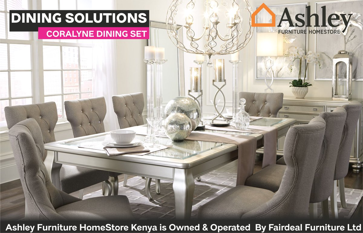Ashley Furniture Homestore Kenya On Twitter Coralayne Dining Room Set Relishes The Glitz And Glam Befitting Silver Screen Queens Curvaceous Cabriole Legs Are Truly Alluring As Is The Exquisite Frame S Lightly Metallic