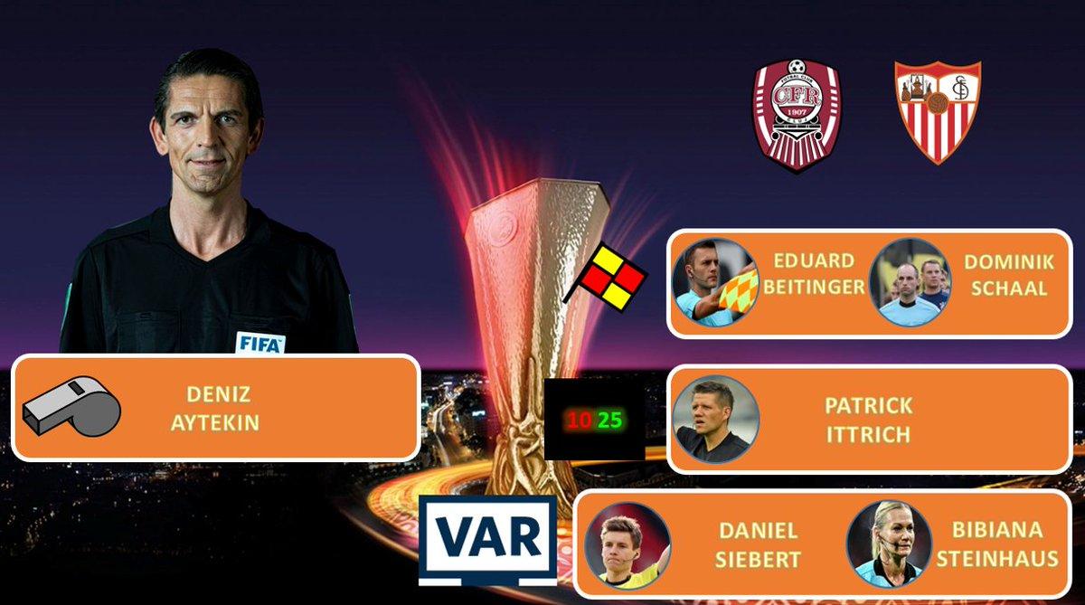UEFA Europa League, Round of 32 Hinspiel (Do.)   FIFA-Schiedsrichter Deniz #Aytekin aus Oberasbach leitet am Donnerstag in der @EuropaLeague zwischen @CFR_1907_Cluj gegen @SevillaFC.   Anpfiff ist um 18:55 Uhr. @DAZN_DE überträgt live !   #CFRSEV #Aytekin #UELpic.twitter.com/oZ2koficmG