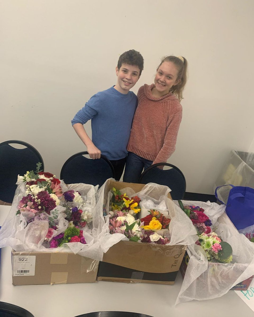 #CursedChildNYC kids Jack and Grace delivering flowers to local senior citizens!
