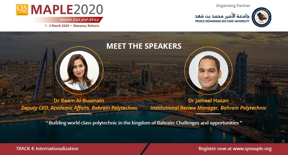 We welcome Dr Reem AL Buainain & Dr Jameel Hasan as #QSMaple2020 speakers! They'll speak on the key challenges & potential opportunities that can support Polytechnic to become a world class provider of applied #highereducation.   Registration closing soon: http://bit.ly/qsmaple2020 pic.twitter.com/iJVaBybIjp