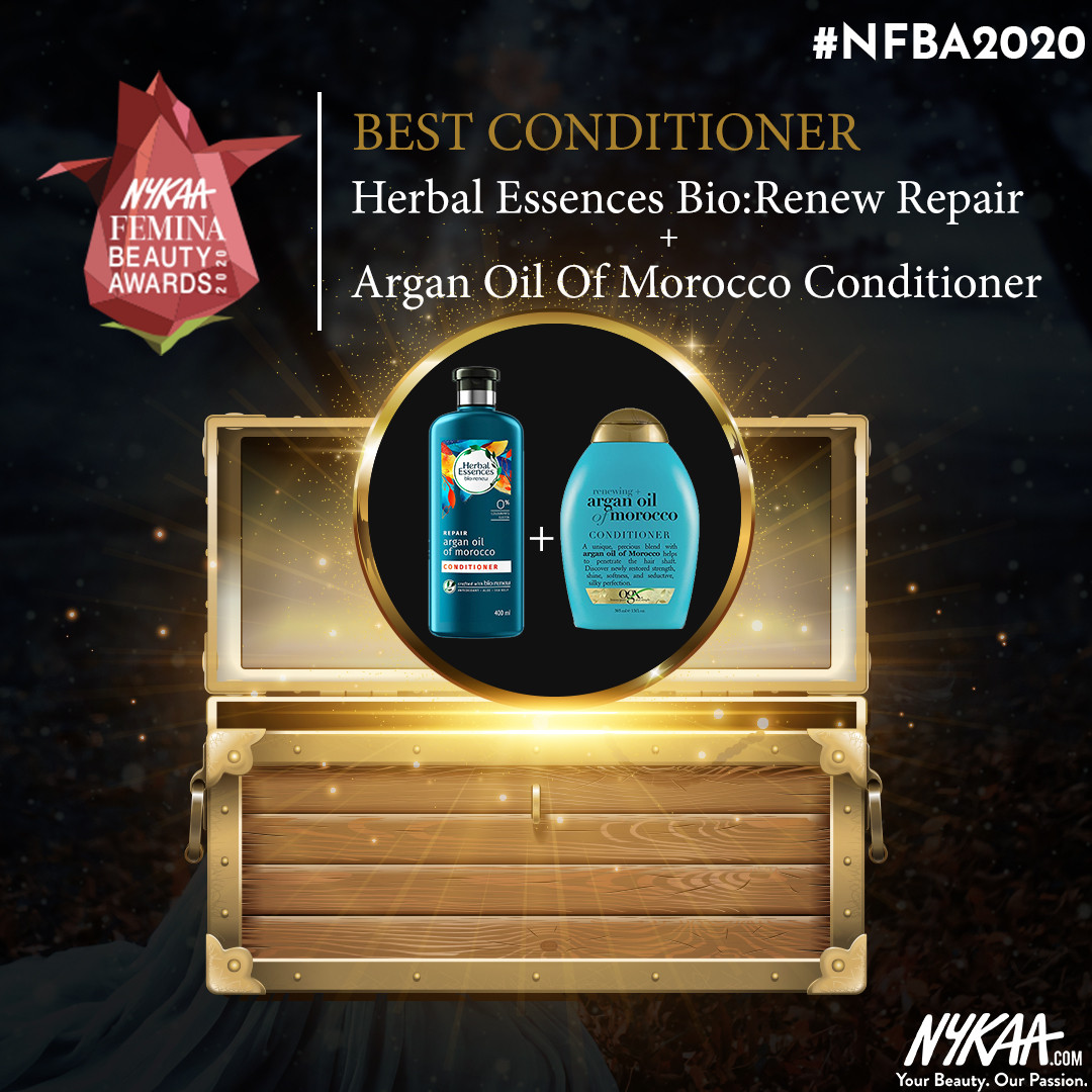 No more rough hair, we have a winner! @herbalessences takes it home tonight for the best #conditioner at #NFBA2020 #NykaaFeminaBeautyAwards #Nykaa #FeminaIndia @MyNykaa @FeminaIndia pic.twitter.com/o9bRkAfR38