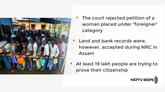 Land, Bank Papers Can't Be Used As Citizenship Proof: Gauhati High Court https://www.ndtv.com/india-news/assam-nrc-land-bank-documents-cant-be-used-as-citizenship-proof-says-gauhati-high-court-2181935… #NDTVNewsBeeps