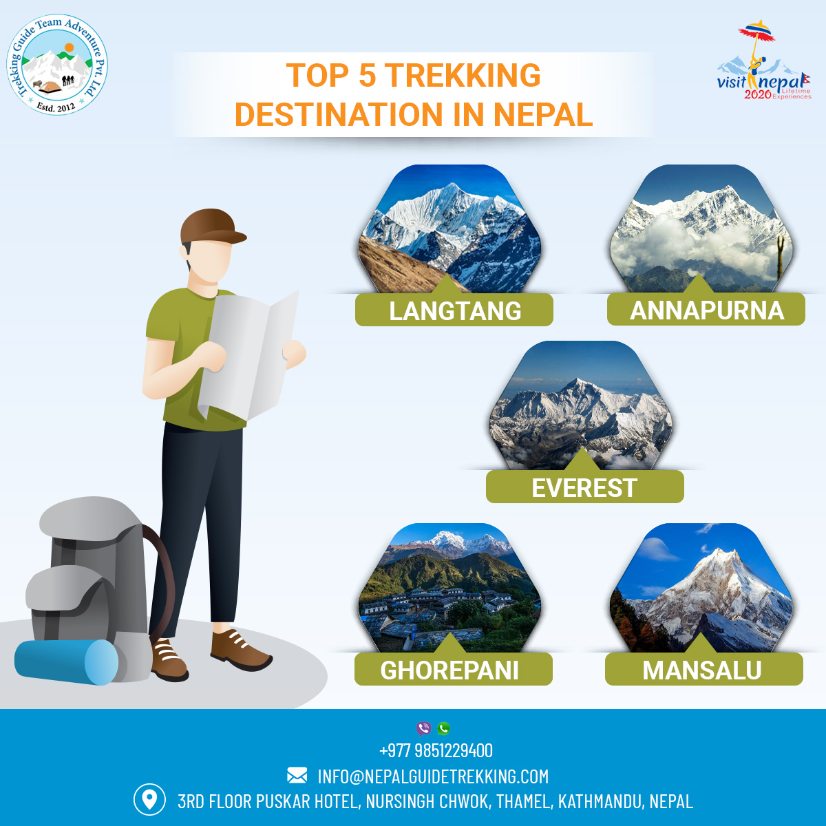 Fill your soul with the adventure in a country that homes the World's highest mountain 🗻, Mount Everest.  #trekkinginnepal #explorenepal #langtang #annapurna #everest #ghorepani #manaslu #ebctrek #abctrek #mountains #himalayas #traveller #hike #trek #visitnepal #wanderlust