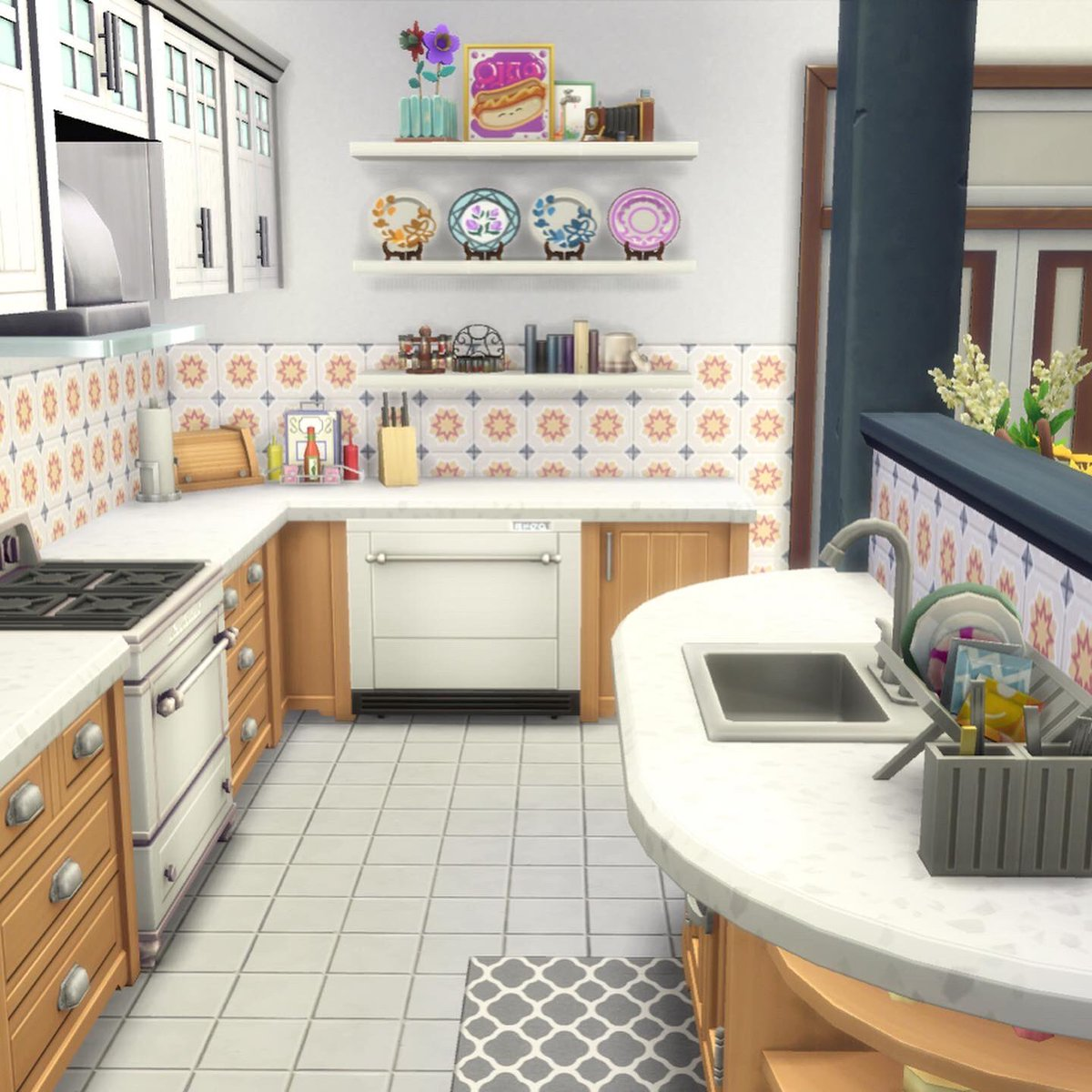 Catie Yellow Plumbob On Twitter I M Loving The Half Wall Island Split In My Latest 122 Hakim House Large Family Apartment Plus The Backsplash Has Got Me Like Showusyourbuilds Thesims