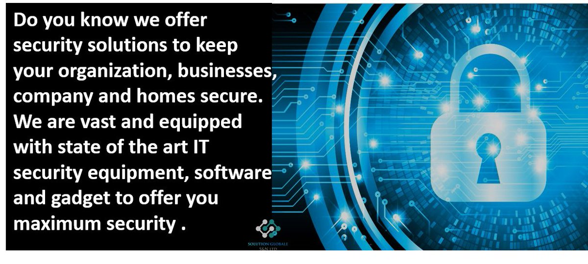 We offer you maximum security with our state of the art security solutions. #TuesdayMotivaton #techinnigeria #softwaresolution #securitysolution #businesssolution #TuesdayThoughts    #internetserviceprovider  #BusinessGrowth #itsolution #technology #tech #automatedsolution #SMEpic.twitter.com/SW7A5InKVG
