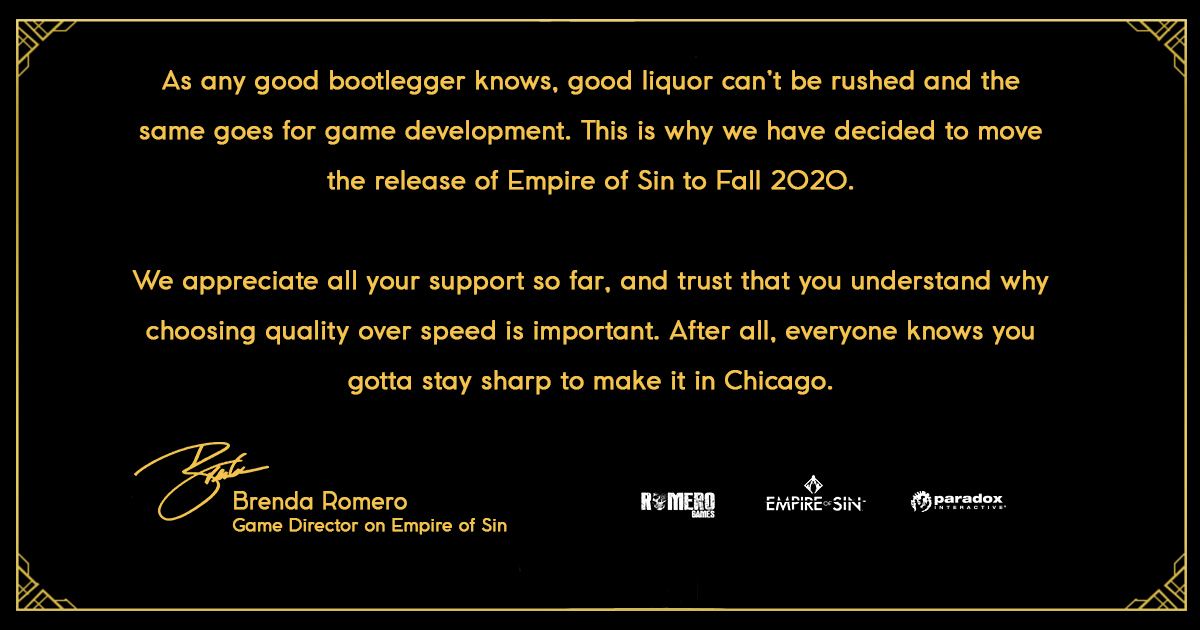 Prohibition Era Strategy Game Empire Of Sin Has Been Delayed - GameSpot