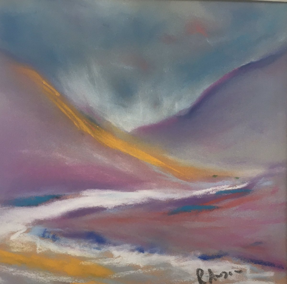 On my easel today, is a wee pastel painting of Glen Catacol in Arran.  #art #artist pic.twitter.com/62Br4P5tYR