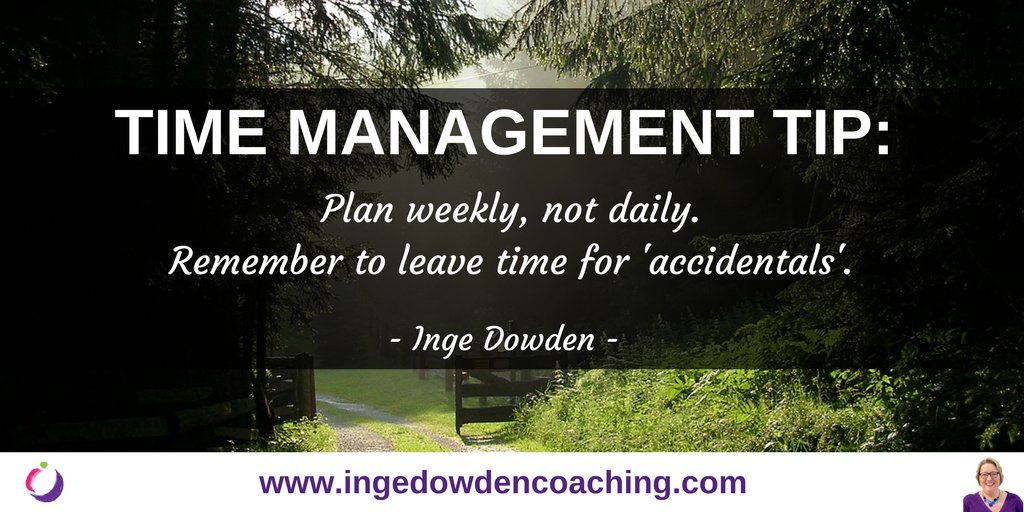 Plan weekly, not daily. Look at the whole week, plan in essentials and leave time for accidentals #careeradvice Complete guide with #timemanagement tips here:  http:// j.mp/2N6pYTq    <br>http://pic.twitter.com/WbOfa1lcIN