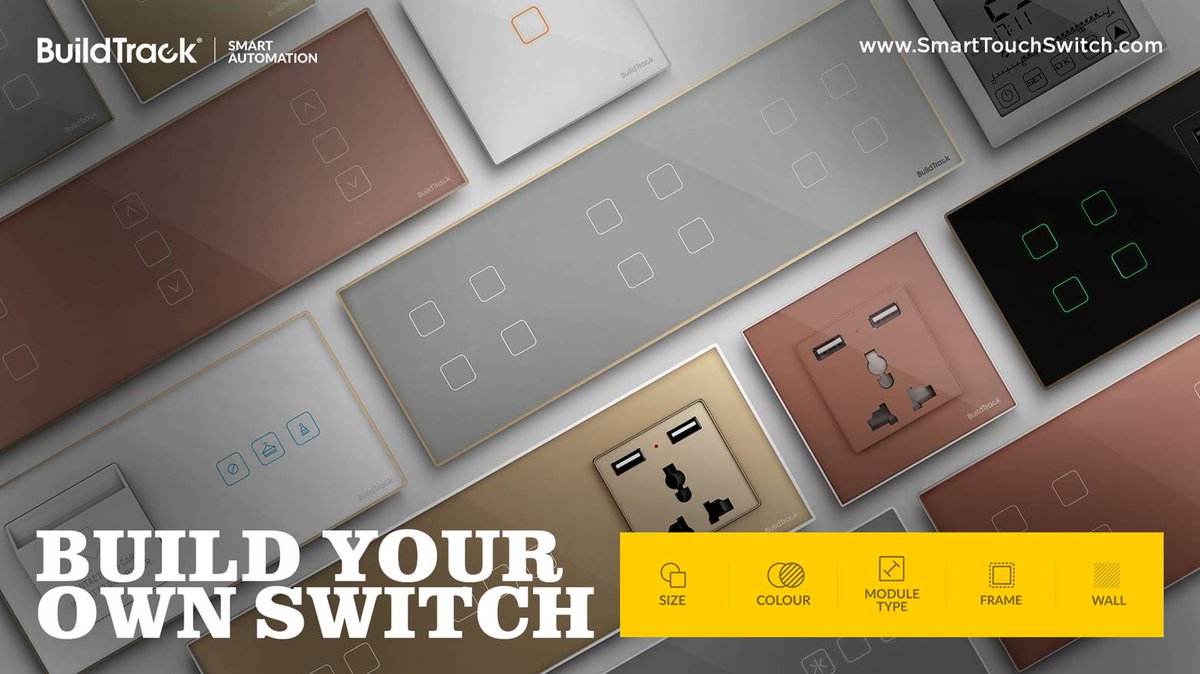 Choose  the switch type, size, glass and frame colors and Build Your Own Switch for your homes http://app.smarttouchswitch.com/  #BuildTrack #SmartFeatures #SmartAutomation #IoT #SmartSolutions #SmartTouchSwitch #BuildYourOwnSwitchpic.twitter.com/oQ9RXRcezX