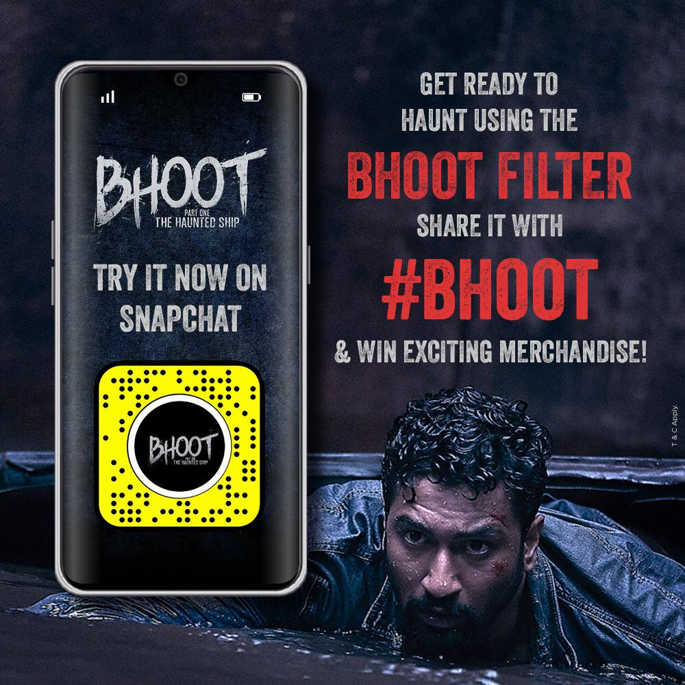 It's getting freakier! Try this #BhootFilter on #Snapchat & get a chance to win movie merchandise! (P.s. Yes, the cool @vickykaushal09 cup included!)  Try it here: http://bit.ly/BhootSnapFilter   #Bhoot #TheHauntedShip in cinemas this Friday! @karanjohar @apoorvamehta18 @bhumipednekar