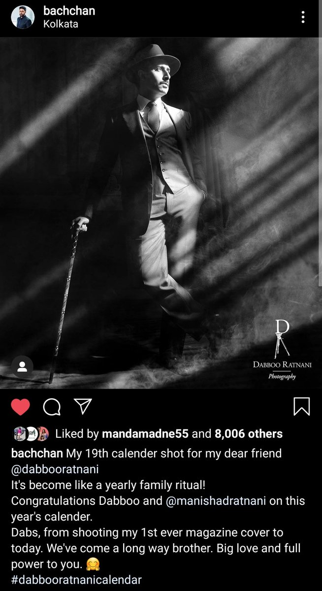😍😍😍😍😍😍😎😎😎😎😎 #AbhishekBachchan #DabbooRatnanicalendar2020
