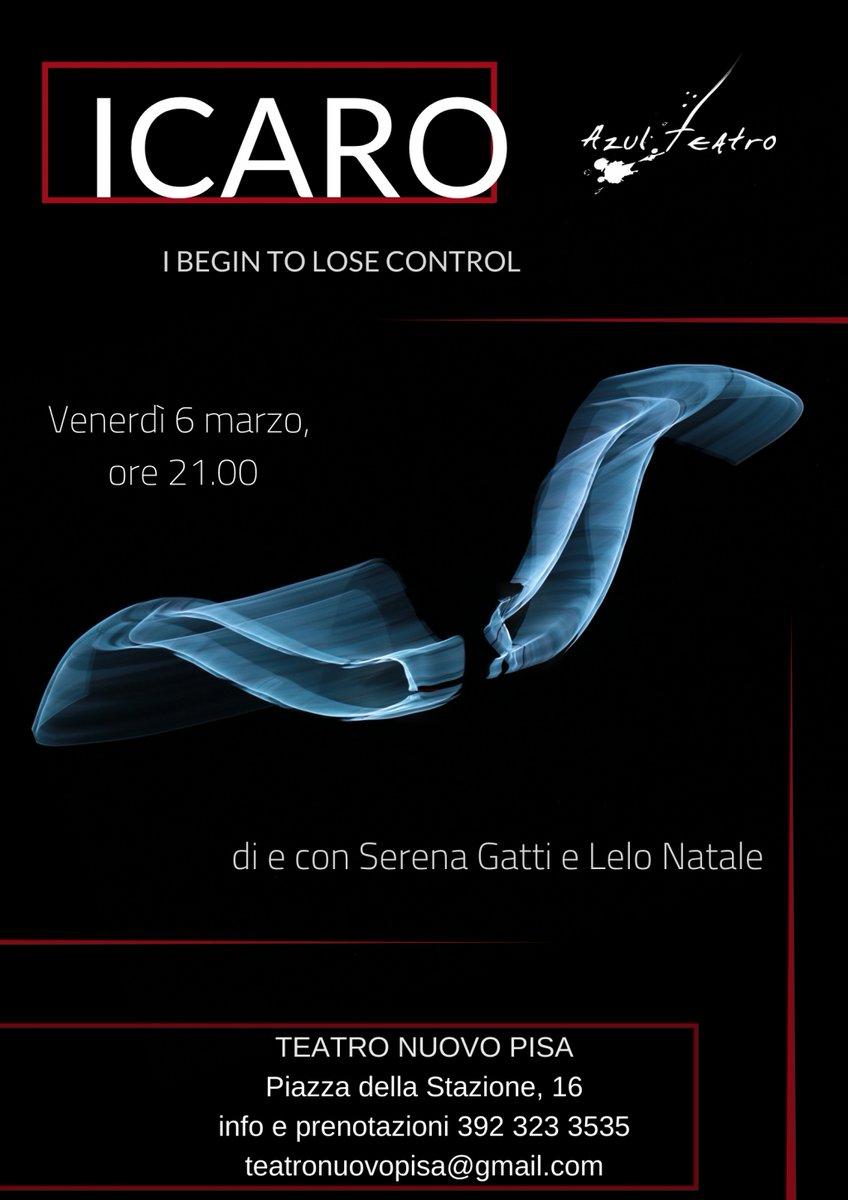 Icaro - I begin to lose control il 6 marzo sui cieli di Pisa Teatro Nuovo ore 21.00 Azul Teatro Teatro Nuovo Pisa #icaro #mito #performance #teatro #ali #poesia