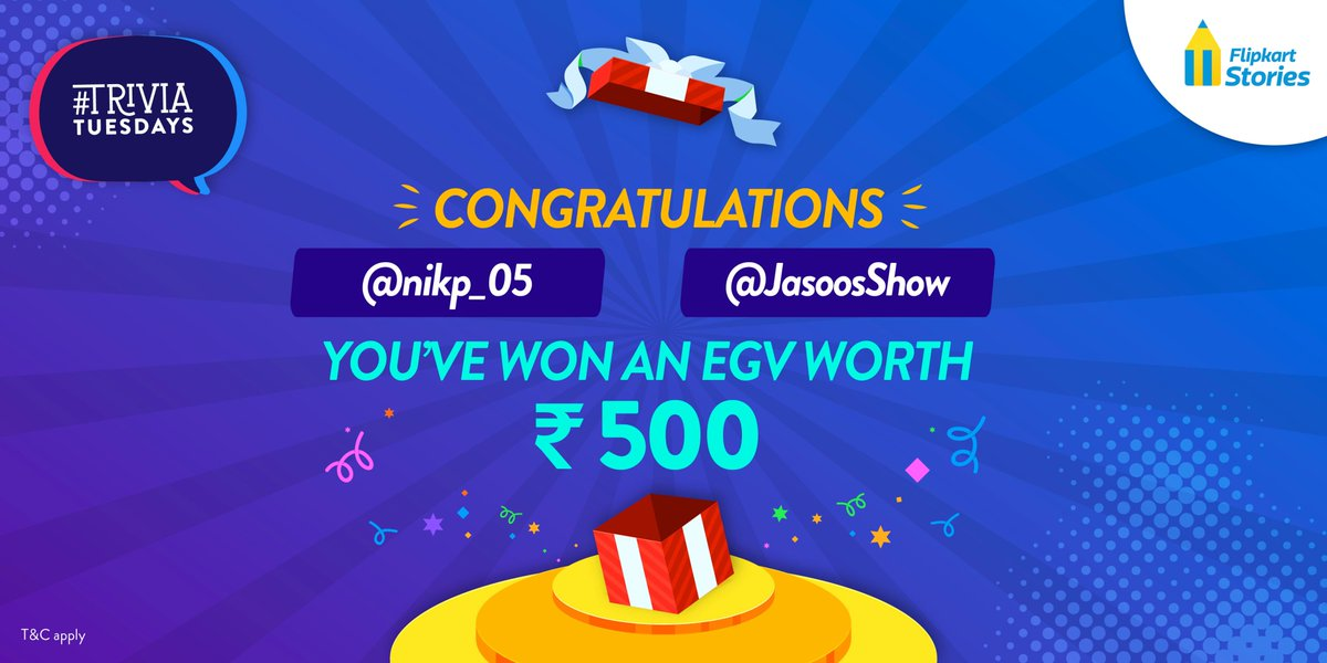 Congratulations, @nikp_05, and @JasoosShow! You are last week's #TriviaTuesdays winners! Don't forget to DM us your full name and email ID to claim your @Flipkart gift vouchers!