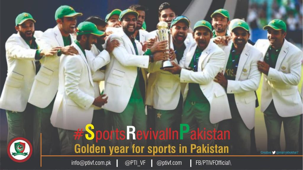 #SportsRevivalInPakistan Pakistanbeat India towintheir maiden ICC Champions Trophy, Pakistanwon by 180 runs, which was the largest margin ofvictoryin the final of an ICC ODI tournament. <br>http://pic.twitter.com/VQmLHQ745K
