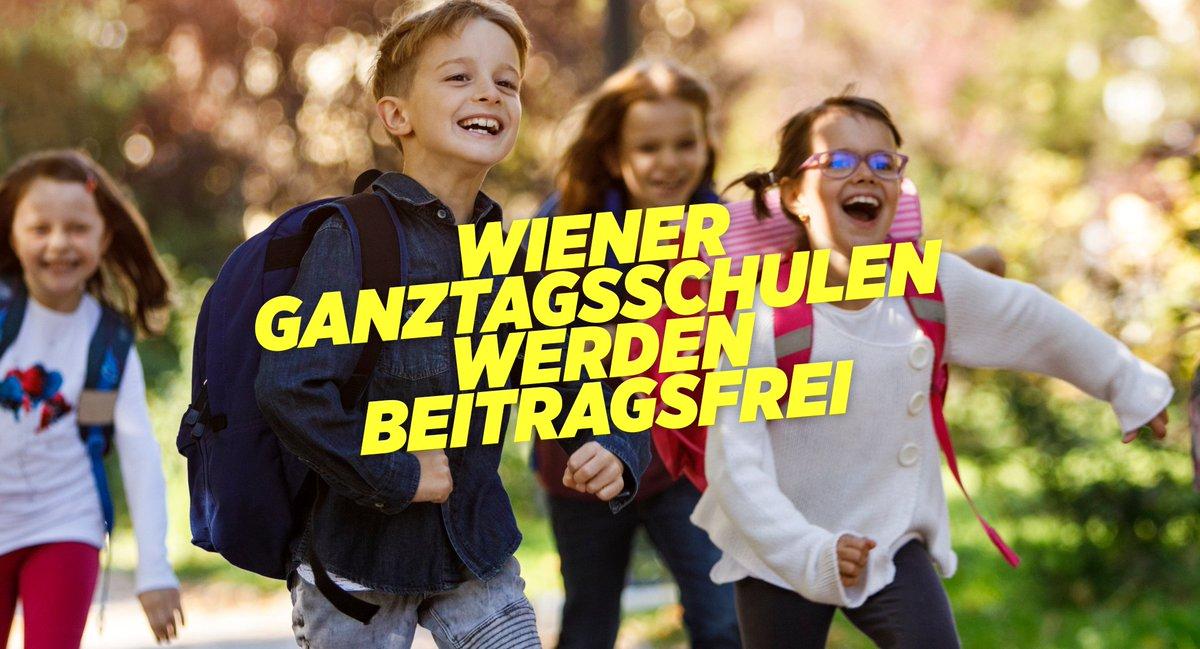 """Eine langjährige Grüne Forderung wird endlich umgesetzt: Alle Ganztagsschulen mit verschränktem Unterricht in Wien sind ab Herbst beitragsfrei! Pro Kind und Monat 180 Euro Ersparnis. """"Schule muss gratis sein, ob halbtags oder ganztags!"""", sagt @ellensohndavid #wienliebe pic.twitter.com/j79jN8Exvq"""