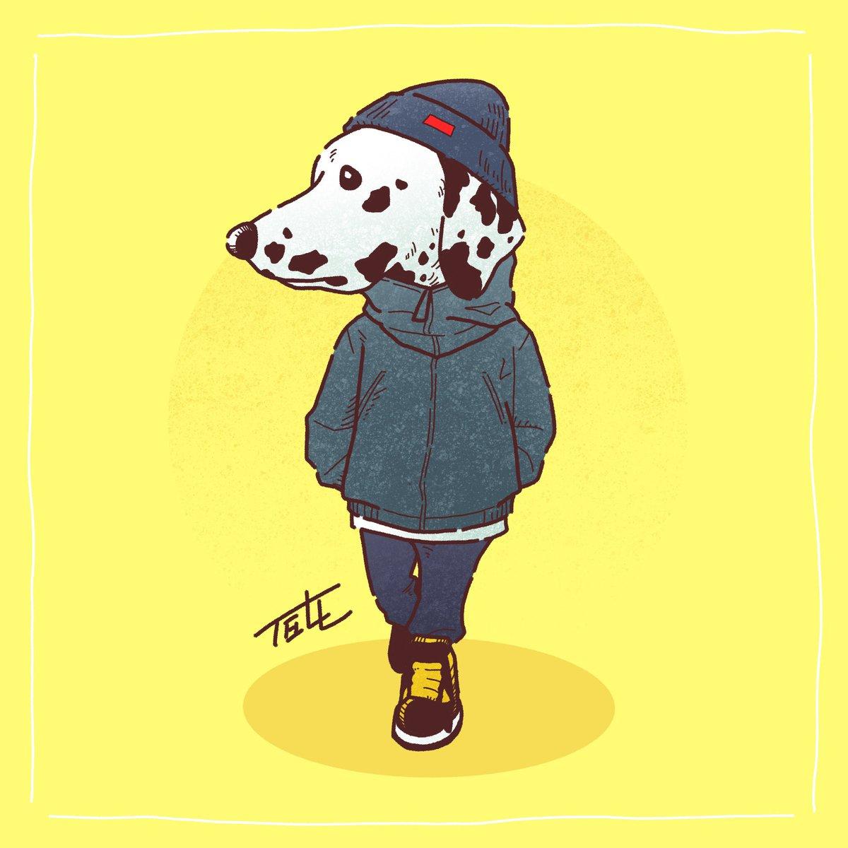 「おしゃれダルメシアン」 スタイリッシュなフォルムと筋肉美からスポーティにしてみた♪(17/100)   #100日間100枚イラストチャレンジ #illustration #artwork #digitalart #procreate #dog #イラスト #イラスト好きさんと繋がりたい #犬  #ダルメシアン #dalmatian