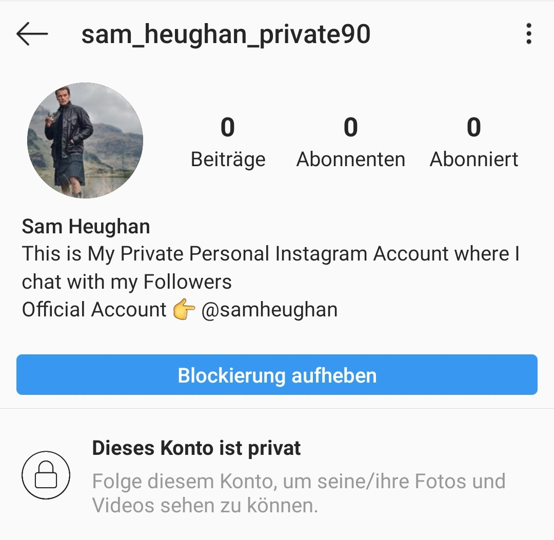 Seriously? 🙄🤦‍♀️ I mean, not that I wouldn't love the idea, but come on... go and report/block this imposter on IG if you haven't. @SamHeughan #Outlander #fake #fakeaccount @Outlander_STARZ @Writer_DG #SamHeughan