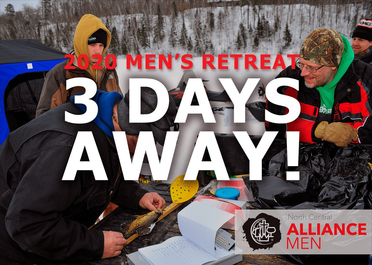Three days until the 2020 Men's Retreat begins. Pray that God will speak to all the men who attend. Hope to see you there! https://register.northcentralalliancemen.org/events   @cmalliance @NCD_of_The_CMA @bigsandycamp  #thealliance #mensretreat #NorthCentralAllianceMen #NCalliancemen #ncmensretreatpic.twitter.com/V0s52HIlWn