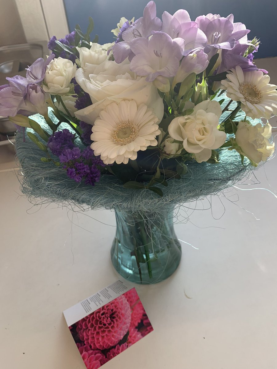 @5Naureen I had the luxury having these beauties sent from @LeedsEastWay #touched and any excuse to add myself in a pic lol - a lucky tweet to see on my twitter break as flowers remind me of warmth not storms