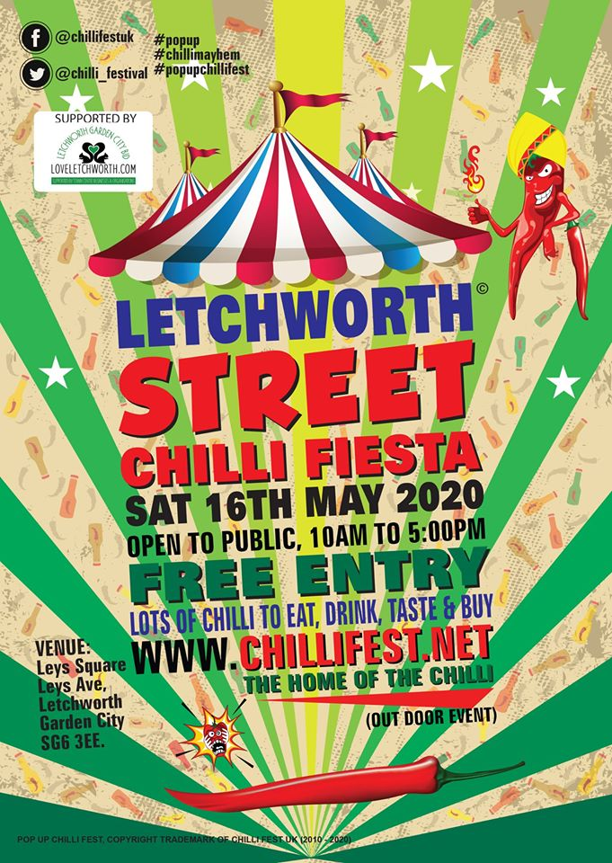 The Letchworth Street Chilli Fiesta returns on 16 May! Therell be some of the best chilli producers from the UK. Expect chilli products from mild to extreme, naga cooking sauces, chilli merchandise & more. 🌶