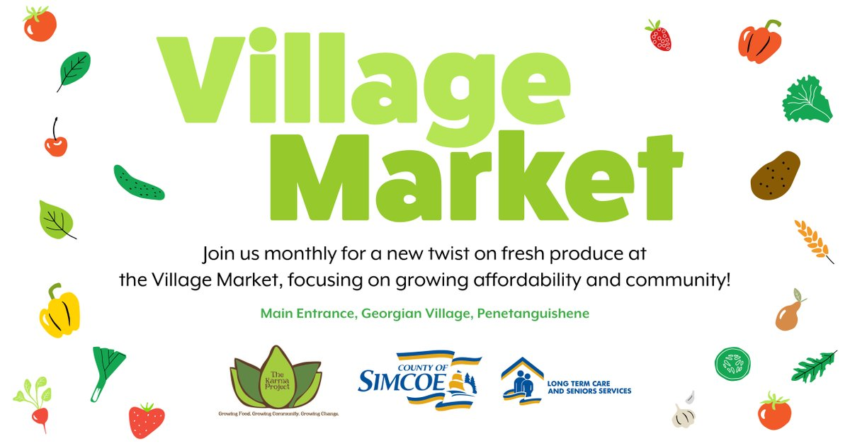 #GeorgianVillage, #simcoecounty's #LongTermCare home in @penetanguishene, in partnership with the Karma Project, is excited to celebrate the #grandopening of the #VillageMarket on Feb 26 at 11 am.  Swing by the main entrance to buy fresh fruits & veggies.  http://ow.ly/JTfe50ypChq pic.twitter.com/1xYWTM2OKA