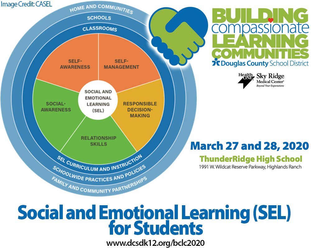 @dcsdk12 and @SkyRidgeMed Building Compassionate Learning Communities Conference will explore the social and emotional needs of our students based on the CASEL model.  Space is limited and sessions are filling up! Register today: https://t.co/B2btUUVgor #BCLC2020 #DCSDTogether https://t.co/kYs3Ldo4sc