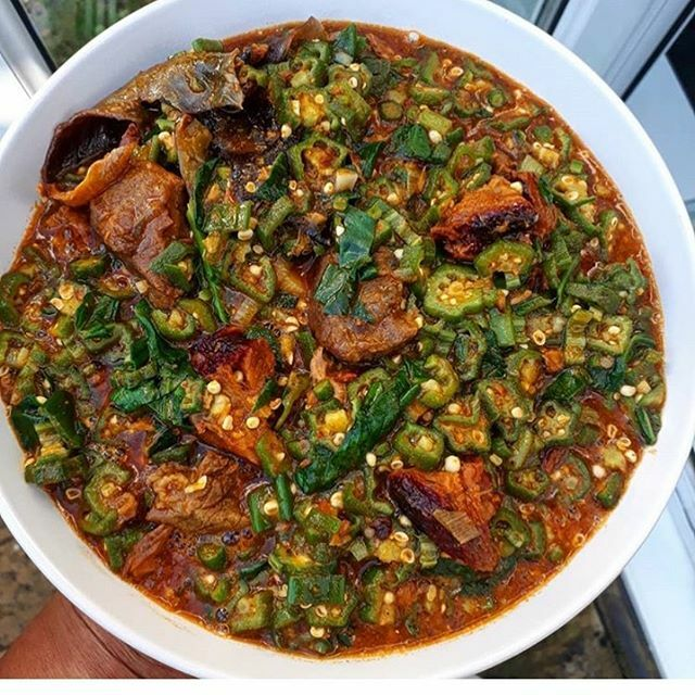 #okro by @chineze1 😉😋😋 #lunch #clicknchop #foodie #yummy #dinner #nigerianfood #9jafood #africanfood #africa #instapic #instafood #pic #foodpic #picture #yummypic #beef #meat #chops #swallow #poundedyam #garri #wheat