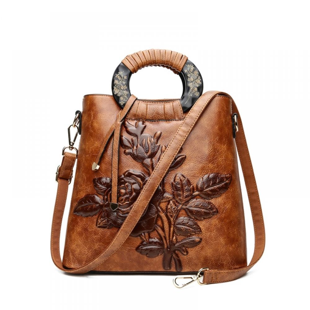 Women's Autumn Flowers Leather Tote Bag #happy #instalike