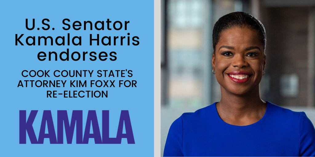 U.S. Sen. @KamalaHarris' support holds a special place for me. As one of the few Black female district attorneys, shes a source of inspiration and has helped paved the way for implementing reform in the criminal justice system.