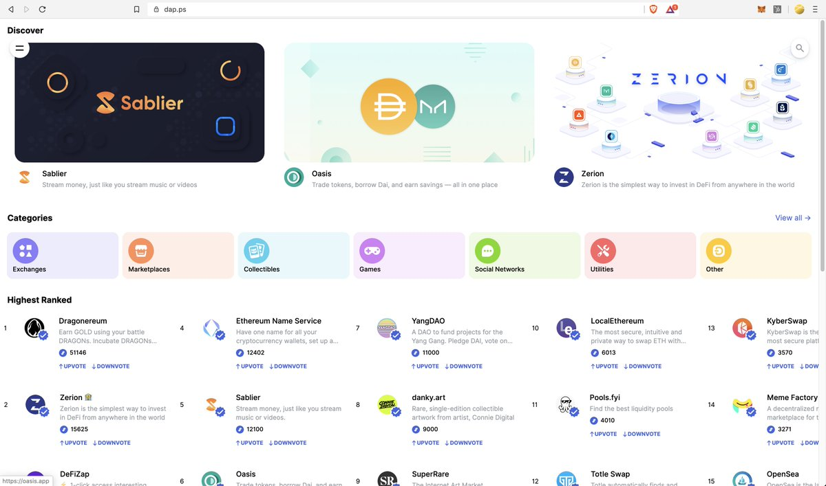 https://t.co/9Kq2QRYdL9 provides access to the growing ecosystem of #defi products and tools such as @SablierHQ, marketplaces, collectibles, games & more all on your phone.