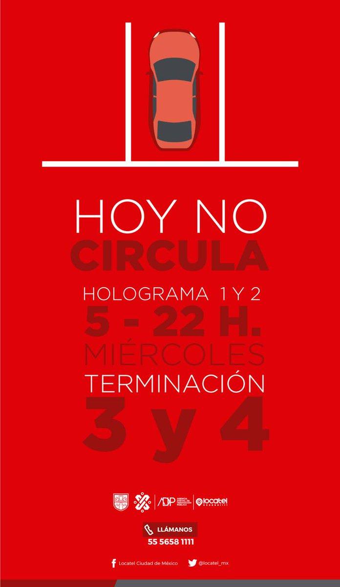 ¡Mitad de semana! #HoyNoCircula: Terminación de placas 3 y 4, engomado rojo 🔴❤🌹🍓🌶 con hologramas 1 y 2. 🚗💨#FelizMiércoles