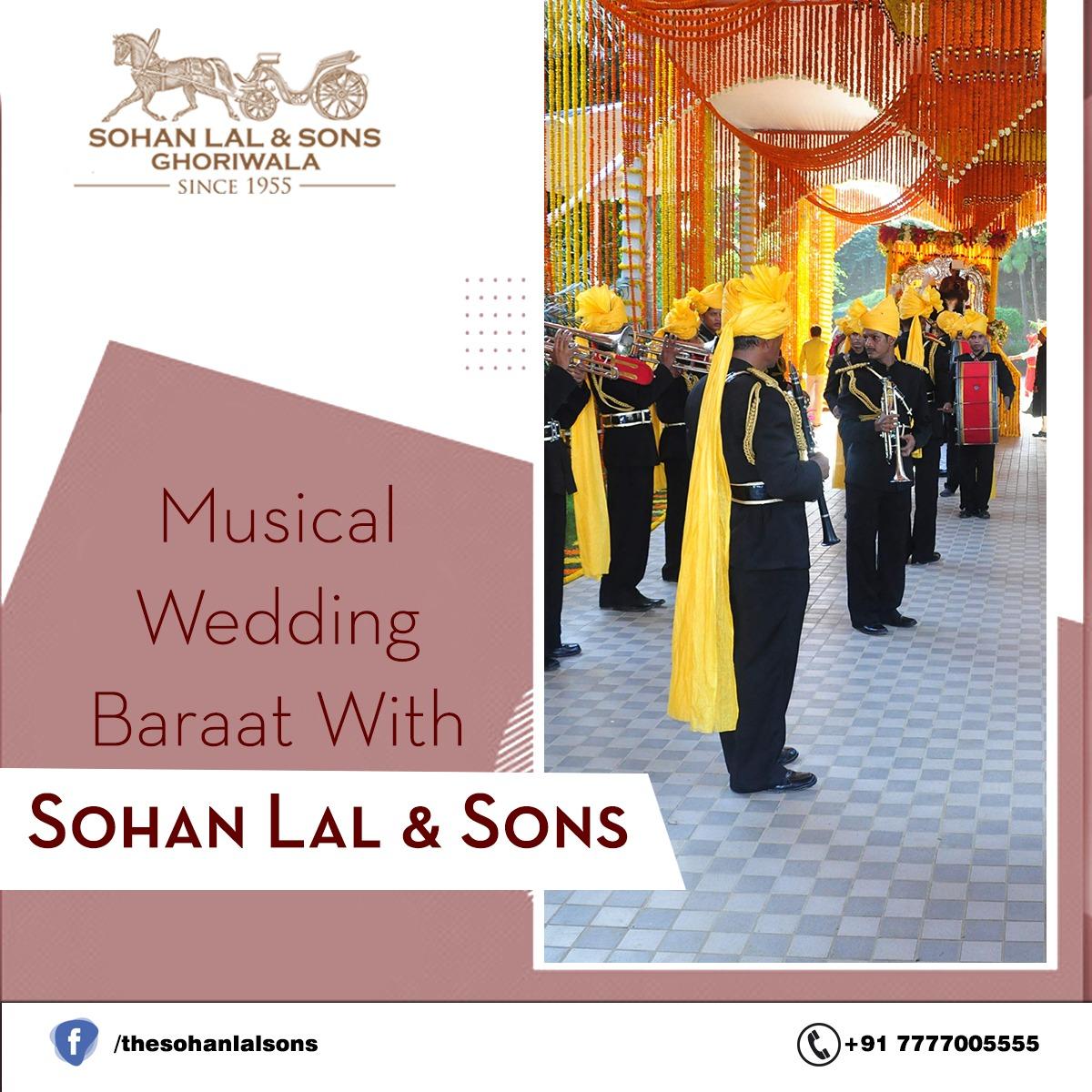 "Enjoy the Musical Wedding Baraat with ""SohanLal & Sons""  . . #SohanLalAndSons #SohanLal #Band #Ghodi #Wedding #BestBhangda"
