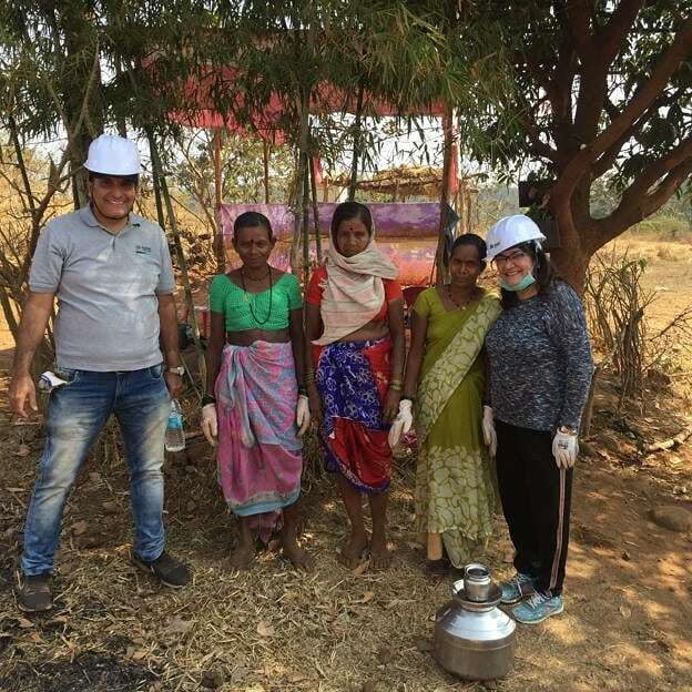 It was great  working and learning from this wonderful women about  the bricks and to lay the foundation brick by brick at the #Build @karjat by #habitatforhumanity with #Sanjay from the team!! #wbi #womenbuildindia ##underpriveleged #adivasis #home #house #MendonsaFoundatio…