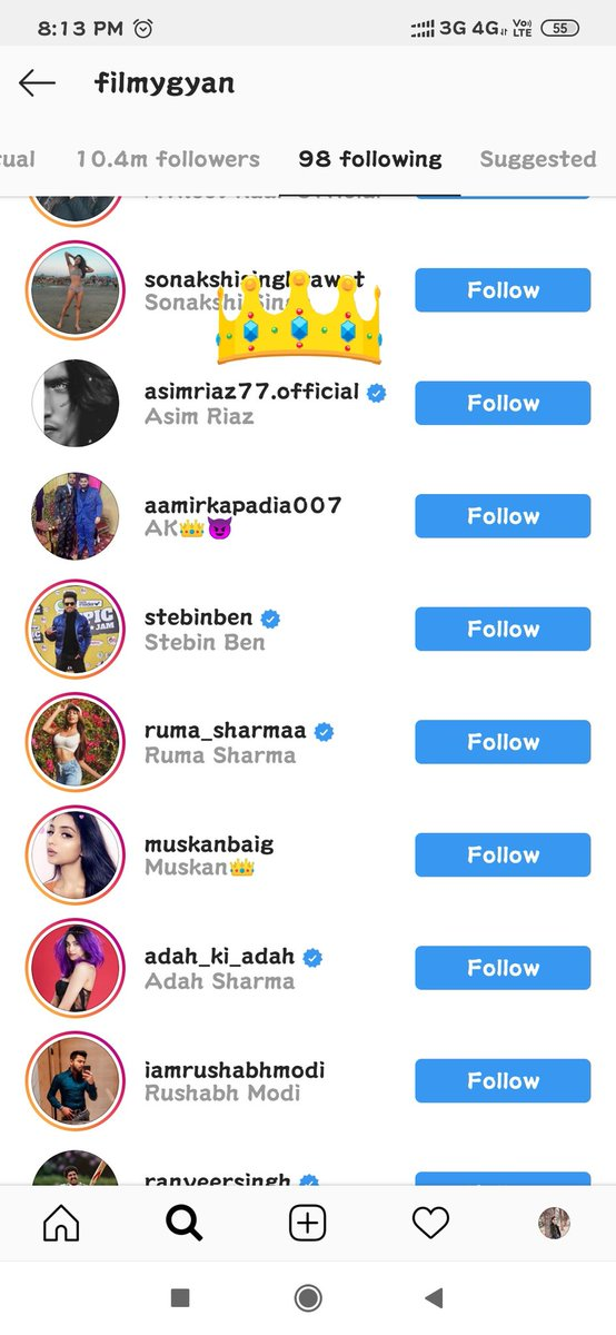Chuklians see I decided not say anything more to you!  But this ain't stopping!  Filmygyan follows Asim Riaz on Instagram  & not Fixed Khairati Winner Shukla!   Asim Riaz Fever #ForeverWithAsimpic.twitter.com/ppujVIVT2L
