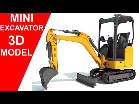 3D Models - Mini Excavator 3D Model #tracked #excavator #loader #tractor #digger #crawler #build #work #road #engineering #machine #track #small #industrial #vehicle #backhoe #bulldozer #mini #c4d
