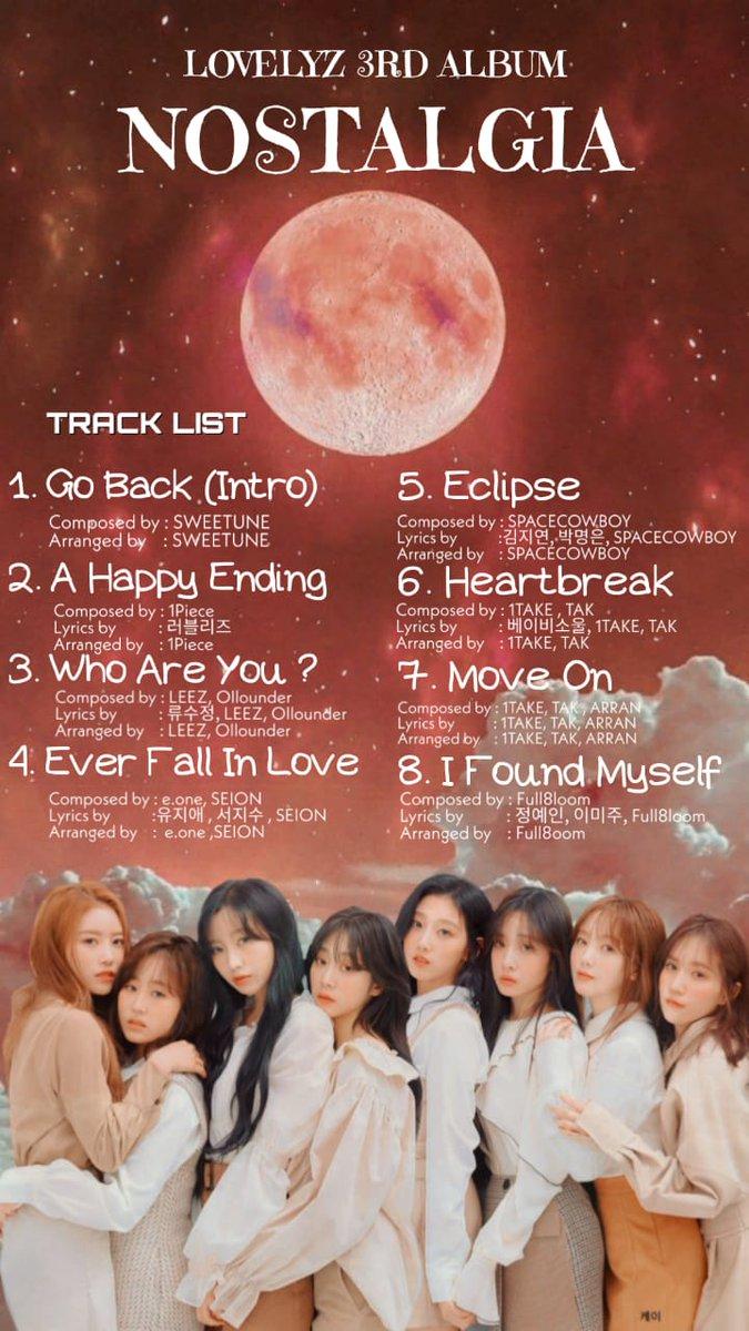[#Lovelyz] #러블리즈 3rd Full Album #NOSTALGIA  Track list  2020.03.33 PM 06:00 RELEASE pic.twitter.com/azrDMXRGPL