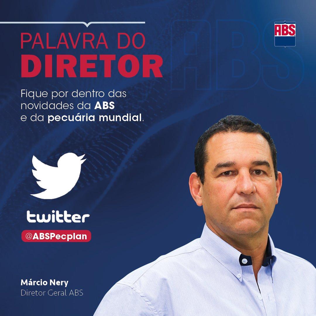 Tem novidade na comunicação da ABS com você! A partir de agora, o diretor geral Márcio Nery é quem comanda o Twitter da ABS. Fique por dentro das novidades da empresa e da pecuária mundial!  #ProgressoGenéticoGerandoLucro #ABSPecplan #ABS #pecuária #melhoramentogenético #genética