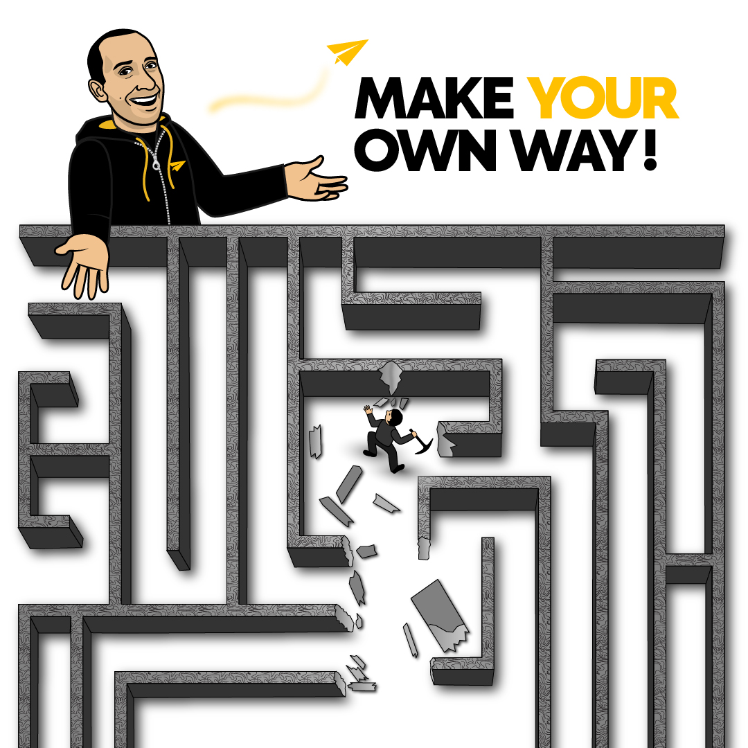 You can either enter the maze that others want you to follow or you can make your own path. Which will you choose? - Evan Carmichael #Believe . #ambition #entrepreneur #successful