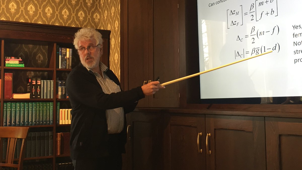 """David Houle gave a great talk at @CASOslo today, with the title """"#Evolvability of sexual dimorphism under antagonistic and concordant selection"""". New and interesting theory!"""
