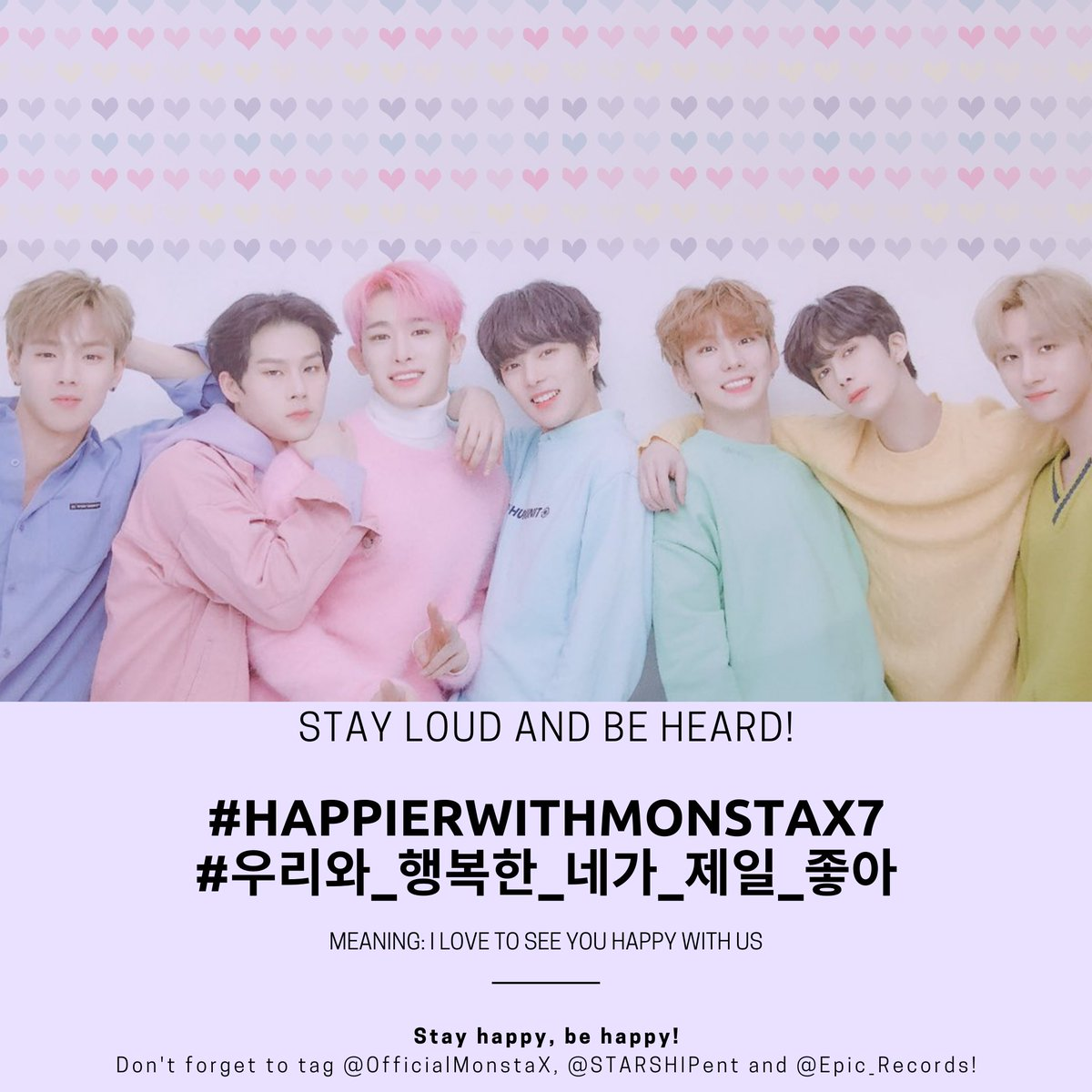 ♥️NEW HASHTAG ALERT♥️ 👉NEW HASHTAG ALERT👈  REPLY (7) TIMES  #HappierWithMonstaX7 #우리와_행복한_네가_제일_좋아 - I love to see you happy with us  @OfficialMonstaX @STARSHIPent @Epic_Records @eshygazit