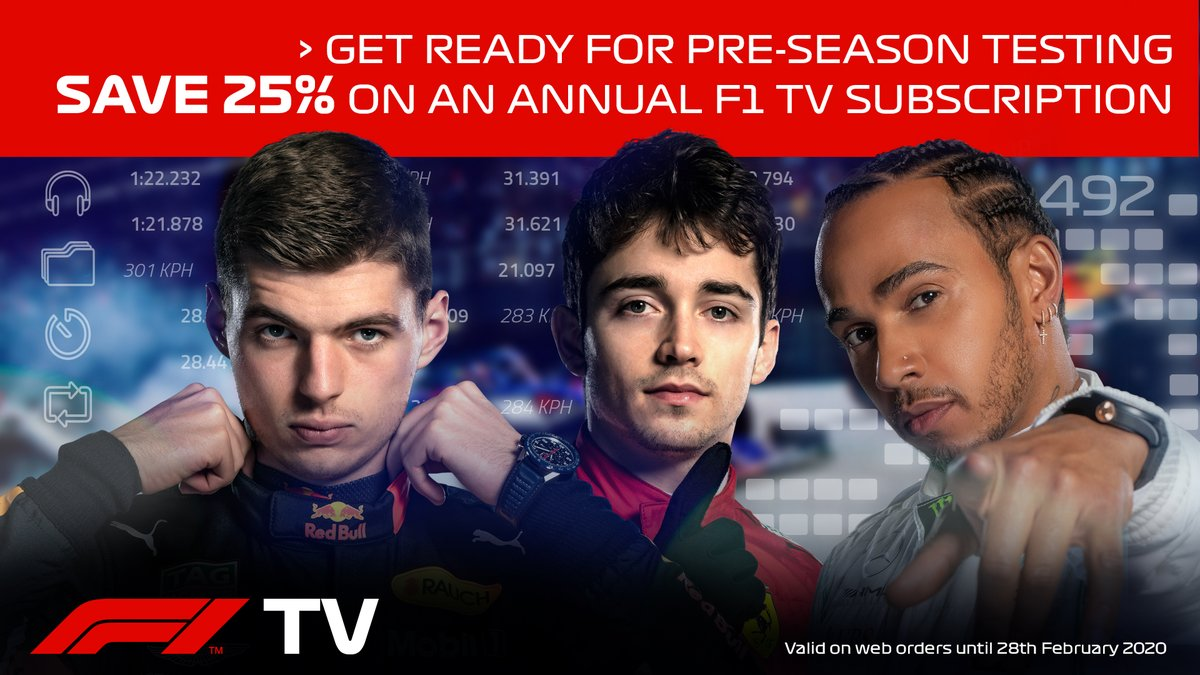 #F1TV pre-season discount!   Get 25% off with this code 👉 EARLYBIRD25 >> https://f1.com/F1TV_Earlybird_Discount …  