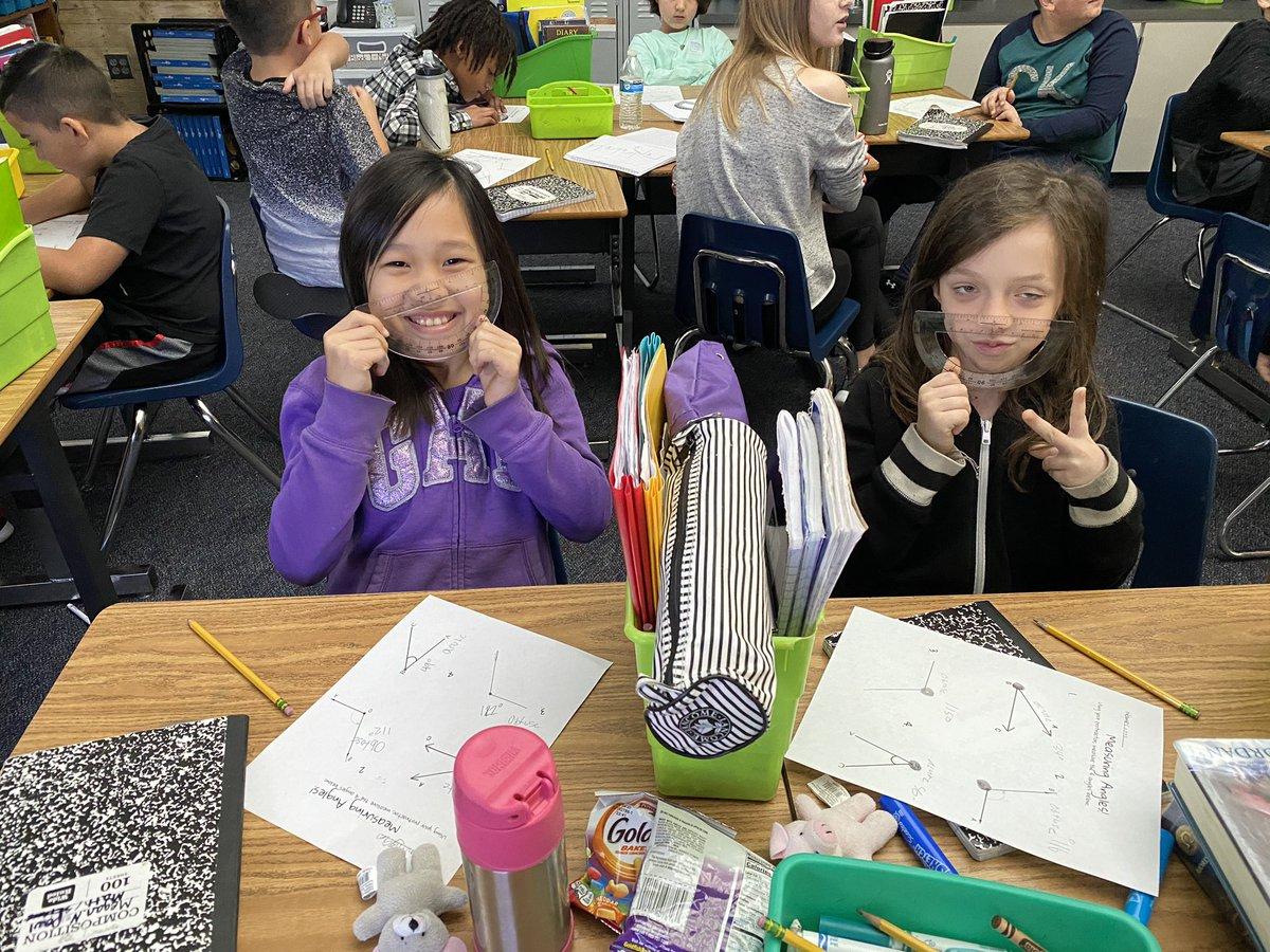 Measuring angles using protractors makes us 😊 #walstars #my MISD