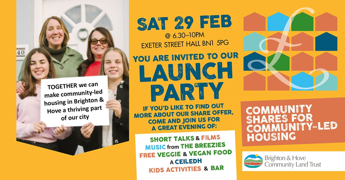Interested in helping to solve #Brighton & Hove's housing crisis? Find out more & enjoy free music & food at Brighton & Hove Community Land Trust's Community Share Offer Launch Party on Sat Feb 29 Tickets are going fast! tinyurl.com/bhclt-launch @BaHCLT