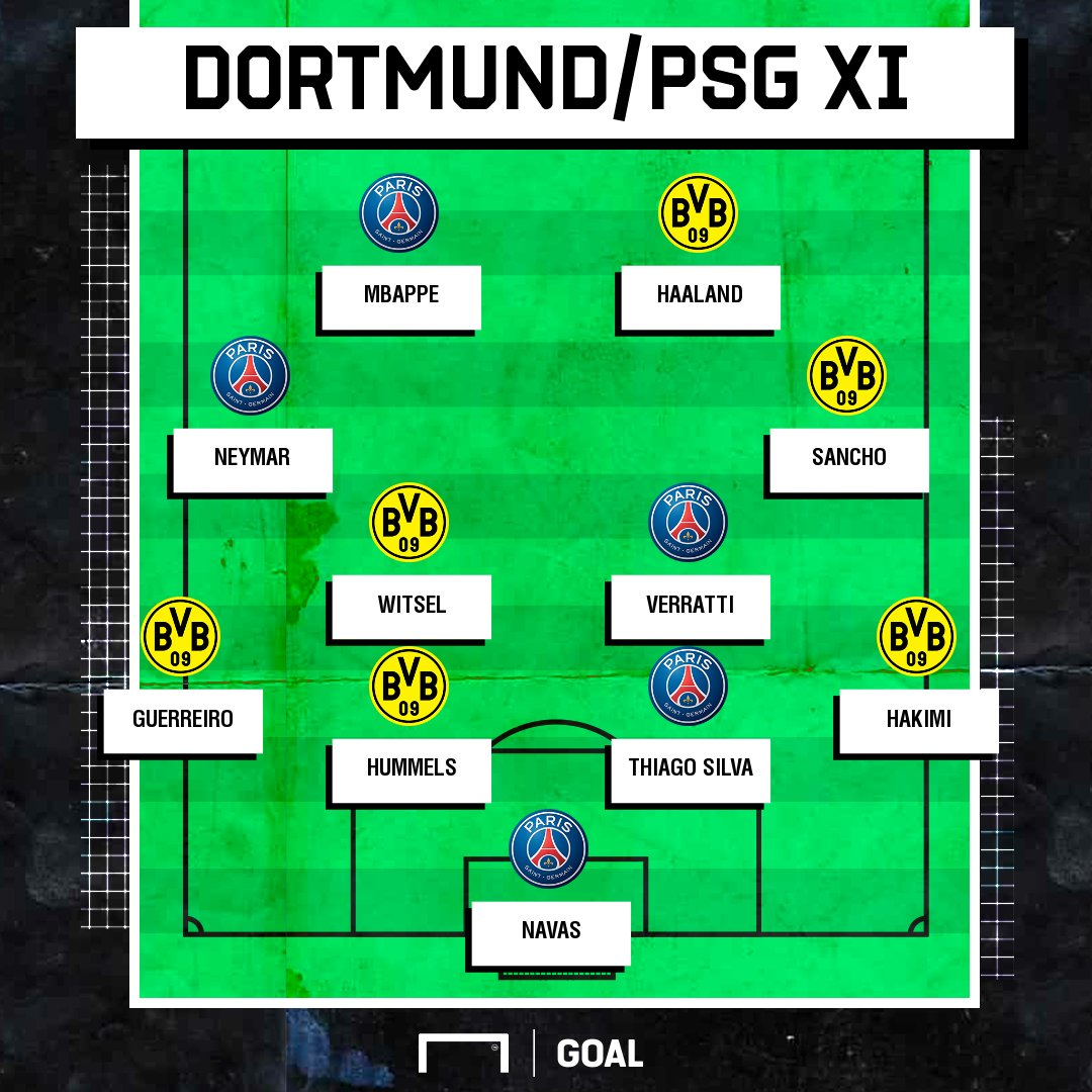 That front four 🤤  Is this the best Borussia Dortmund x PSG combined XI?  #UCL #BVBPSG