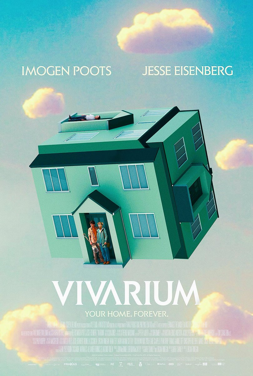 観たら頭がおかしくなりそうな映画「Vivarium」観たいな!婚約したてのカップルが新居を探していると怪しい不動産屋に全く同じ家が並ぶ奇妙すぎる迷路のような住宅地に案内され閉じ込められてしまう。さらに異世界の子供を育てるよう強要される。タイトルの意味を調べると嫌な予感しかしない…