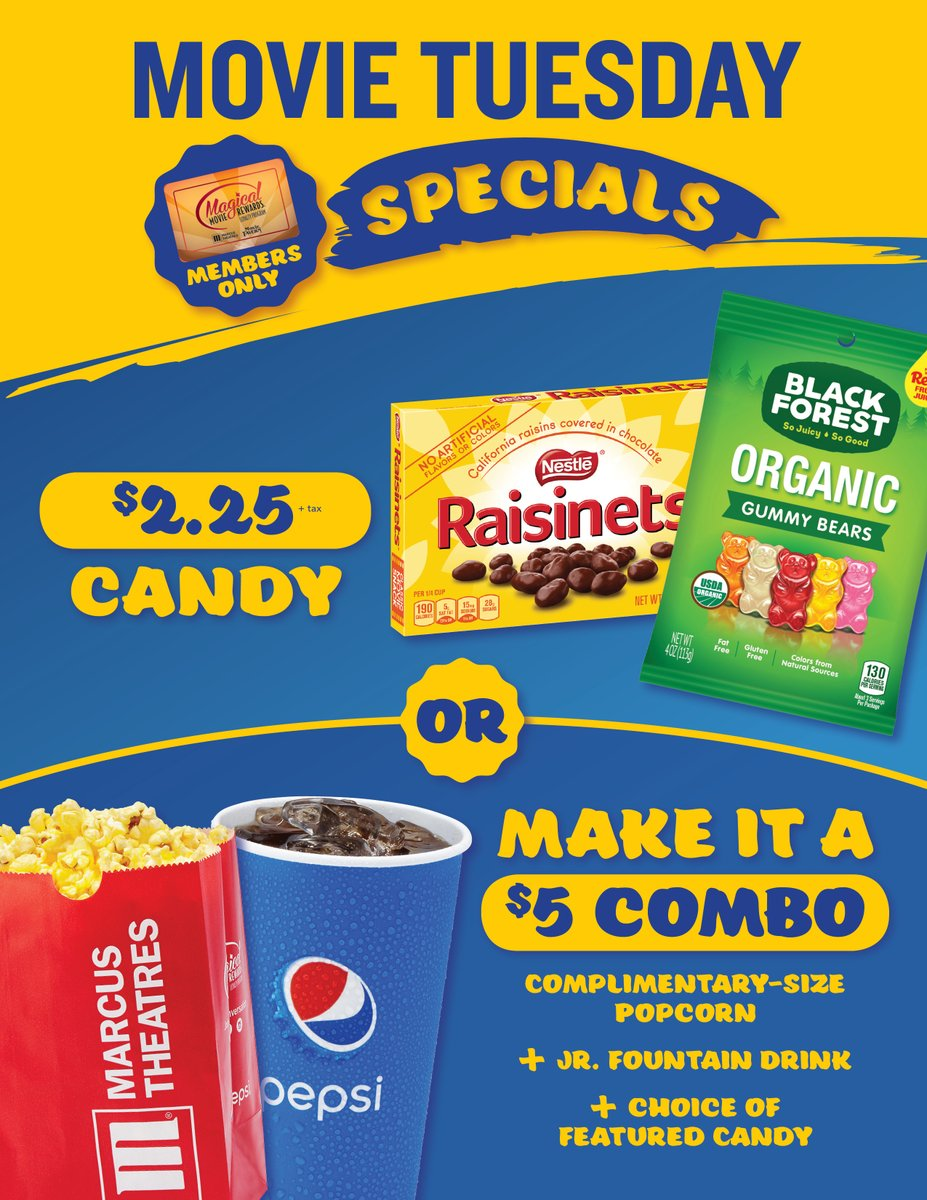 """Today is the best day to see a movie at #MarcusTheatres! If you're a #MagicalMovieRewards member, your day just got better! Check out these. delicious """"members only"""" concessions specials and click here to get your tickets 👉 http://bit.ly/5Tuesdays"""