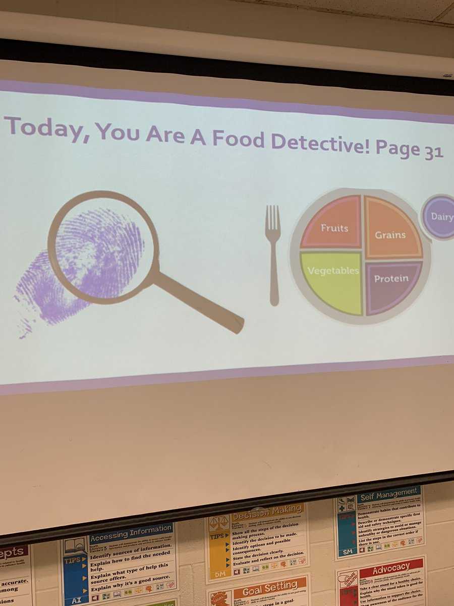 6th graders are Food Detectives today! They are analyzing a food log and seeing how Jaime could incorporate more of the MyPlate guidelines in his/her diet!pic.twitter.com/JRqpRMKzPO – at Margaret Buerkle Middle School