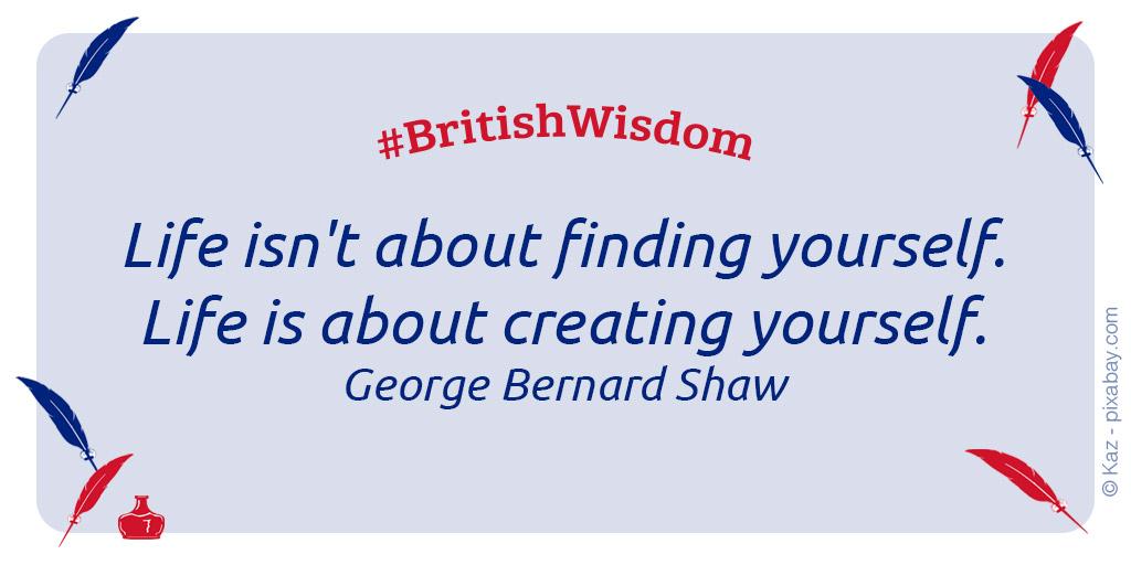 BritishWisdom: Life isn't about finding yourself. Life is about creating yourself. - George Bernard Shaw  #georgebernardshaw #weisesprüche #sprüchezumnachdenken #zitatezumnachdenken #thebritishshop #verybritish #diefeineenglischeartpic.twitter.com/HYvKJ3EDoS